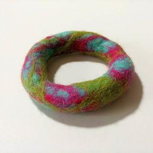 Jewelry - Multicolor Felted Bracelet Vtg Wool Jewelry Nepal